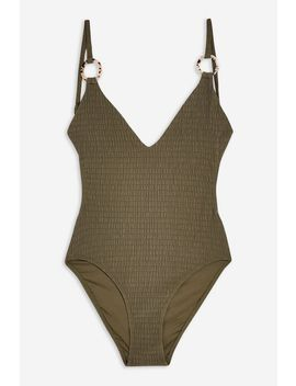 Shirred Ring Plunge One Piece by Topshop