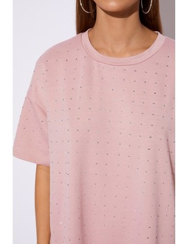 Sarah Ashcroft Pink Oversized Rhinestone T Shirt Dress by In The Style