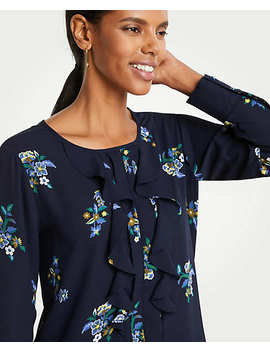 Floral Cutout Pleated Ruffle Blouse by Ann Taylor