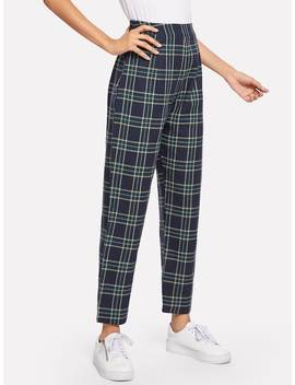 Plaid Print Pant by Romwe