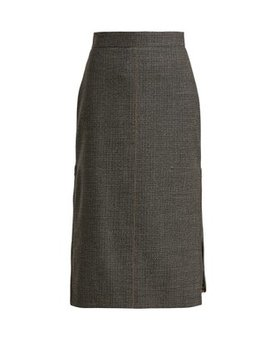 Checked Pleated Insert Wool Blend Skirt by Fendi
