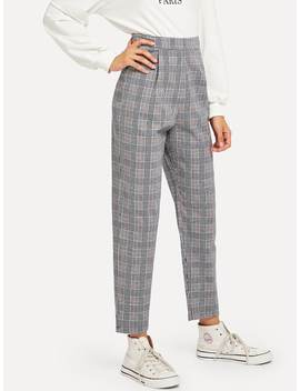 Wales Check Zip Up Pants by Romwe