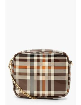 All Over Patent Check Camera Bag by Boohoo