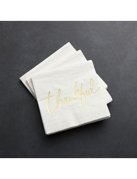 Thankful Paper Beverage Napkins, Set Of 20 by Crate&Barrel