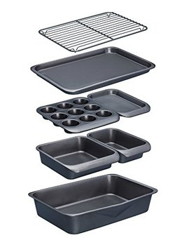 Kitchen Craft Master Class Smart Space Non Stick Carbon Steel Stackable Bakeware Set Including Roasting Tin, Baking Trays And Muffin Tray, 7 Piece Set by Kitchen Craft