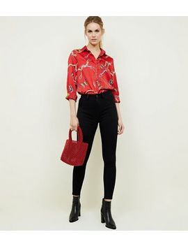 Cameo Rose Red Butterfly Chain Print Shirt by New Look