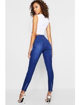 Distressed High Waist Skinny Jeans by Boohoo