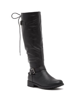 Gliding Back Lace Up Riding Boot by Top Moda