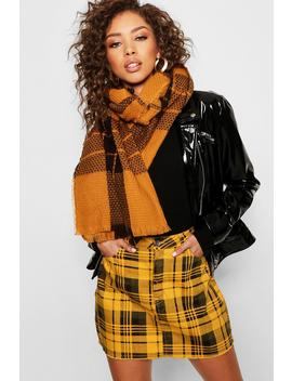 Mustard Check Scarf by Boohoo