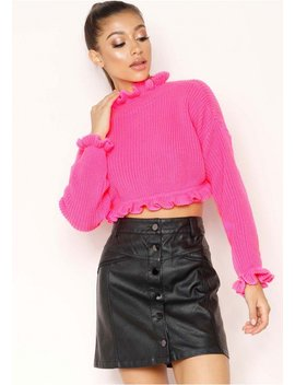 Honey Neon Pink Cropped Frill Knit Jumper by Missy Empire