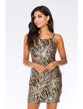 Black And Gold Sequin Square Neck Dress by Quiz