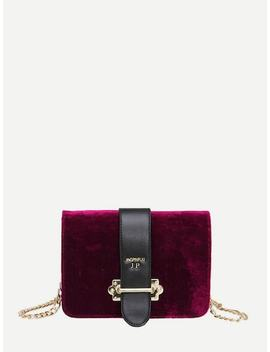 Velvet Chain Flap Bag by Sheinside