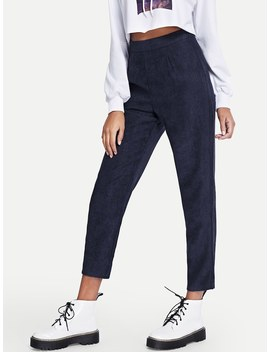 Solid Zip Detail Pants by Romwe