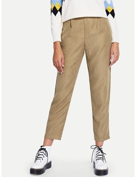 High Waist Solid Pants by Romwe