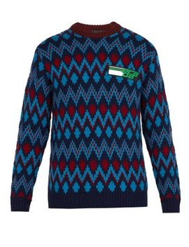 Chevron Jacquard Wool Blend Sweater by Prada