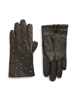 Rani Crystal Embellished Leather Touchscreen Gloves by Echo