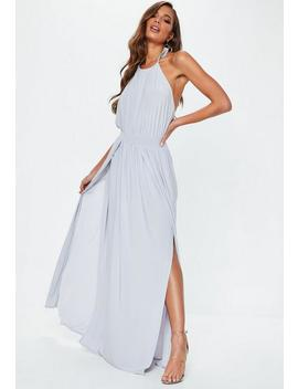 Grey Slinky Halterneck Maxi Dress by Missguided
