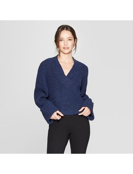 Women's Long Sleeve Wide Cuff Pullover Sweater   Prologue™ Navy by Prologue