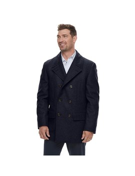 Men's Chaps Classic Fit Wool Blend Double Breasted Peacoat by Kohl's