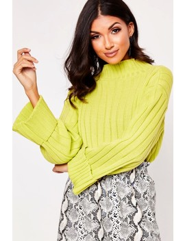 Whitney Lime Turtle Neck Jumper by Misspap
