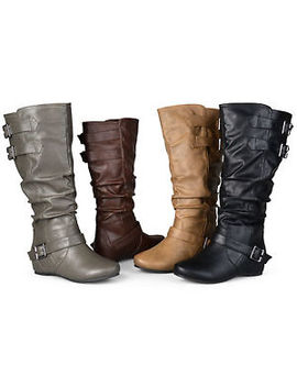 Journee Collection Womens Wide And Extra Wide Calf Slouch Low Wedge Riding Boots by Journee Collection