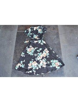 Vintage Floral Wrap Dress | Summer Sun Dress Black Floral Sundress | Full Skirt Dress Midi Dress Indie Boho Xs S by Etsy