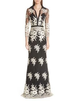 Platinum Embroidered Lace Stretch Silk Column Gown by Badgley Mischka