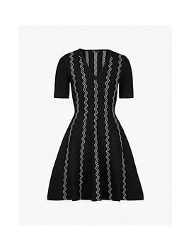 Rigole Zig Zag Knitted Mini Dress by Maje