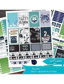 Winter January Printable Big Happy Planner Stickers,Big Mambi Happy Planner Weekly Kit,New Year Planner Silhouette And Cricut Cut Files by Etsy