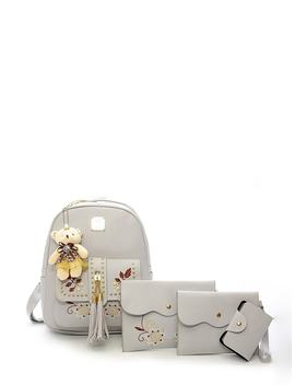 Tassel Detail Combination Bag With Bear Charm 4pcs by Romwe