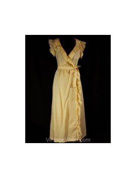 Size 10 Summer Wrap Dress   Yellow Cotton Eyelet Ruffles   1970s Cap Sleeve Frock   Designer Harold Levine   Ankle Length   Bust 36   50767 by Etsy