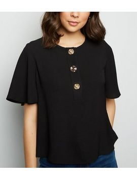 Black Flutter Sleeve Button Up Top by New Look