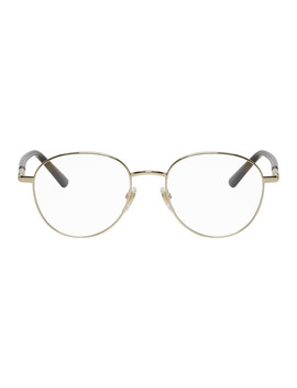 Gold & Tortoiseshell Stripe Glasses by Gucci