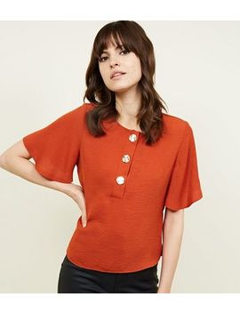 Rust Flutter Sleeve Button Up Top by New Look