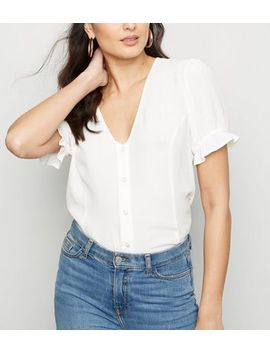 Off White Button Front Puff Sleeve Top by New Look