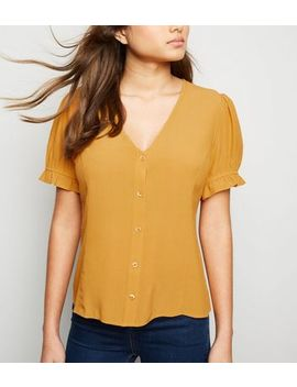 Mustard Button Front Puff Sleeve Top by New Look