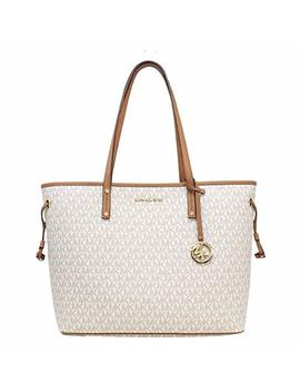 Michael Michael Kors Jet Set Travel Large Tote Mk Signature With Pouch   Vanilla by Michael Michael Kors