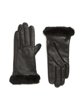 Touchscreen Compatible Leather Gloves With Genuine Shearling Trim by Ugg®