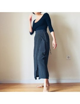 Italian Black Wrap Skirt Vintage Flower Print by Etsy