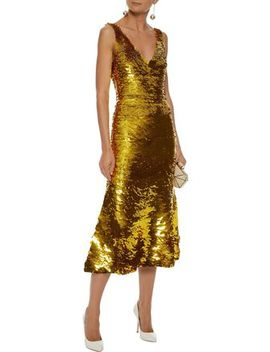 Sequined Silk Blend Organza Midi Dress by Oscar De La Renta