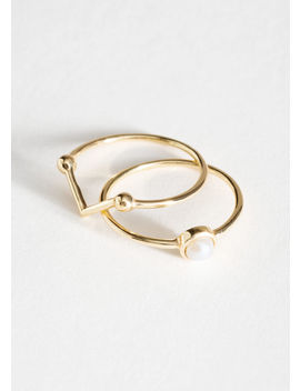Pearl Frame Ring Set by & Other Stories