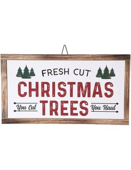 Belham Living Hanging Decor, White With Fresh Cut Christmas Trees Text by Belham Living