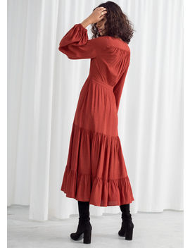 Ruffle Tier Midi Dress by & Other Stories