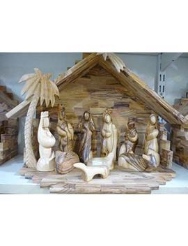 "Olive Wood Nativity Set 11.8"" Handmade Hand Carved At Bethlehem Holy Land by Nazareth Market Store"