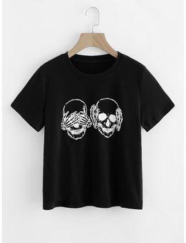 Skull Print T Shirt by Shein