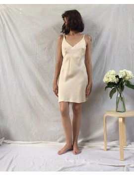 90s Peach Silk Slip With Floral Stitching, Small   Medium by Etsy