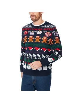 Red Herring   Navy Novelty Rows Knit Christmas Jumper by Red Herring