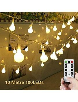 Globe String Lights, 10 M 100 Led Outdoor Fairy Lights Battery Powered 8 Modes Waterproof Light With Remote Control For Garden, Party, Wedding, Indoor, Bedroom And Patio(Warm White) by Centtechi