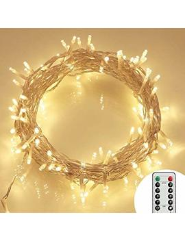 [Remote And Timer] 100 Led Outdoor Battery Fairy Lights (8 Modes, Dimmable, Ip65 Waterproof, Warm White) by Koopower