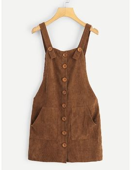 Pocket Front Button Up Pinafore Dress by Shein